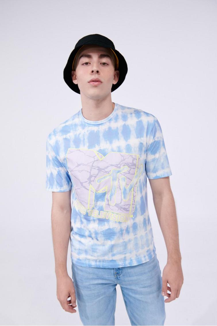 Camiseta Tie dye, manga corta estampada de MTV.