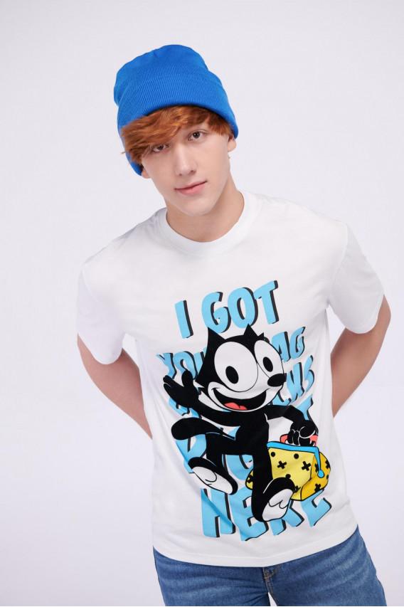Camiseta manga corta estampada de Felix el Gato.