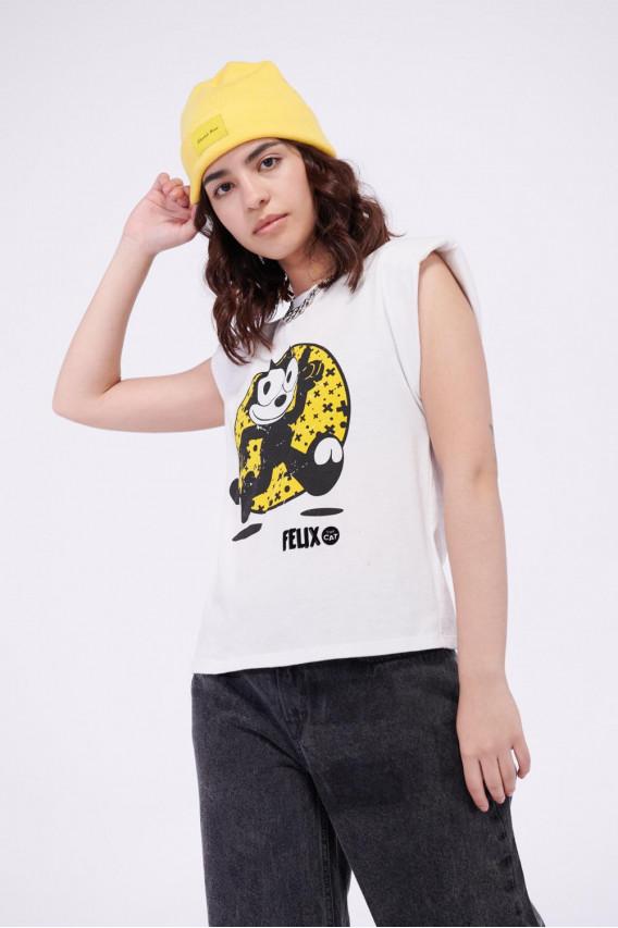 Camiseta con hombreras estampada de Felix el Gato.