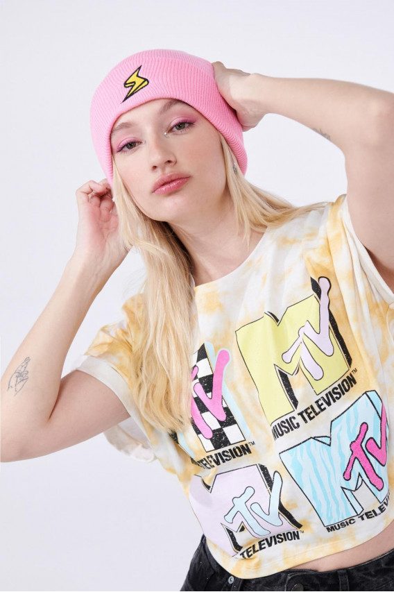 Camiseta Tie dye manga incluida, estampado de MTV.