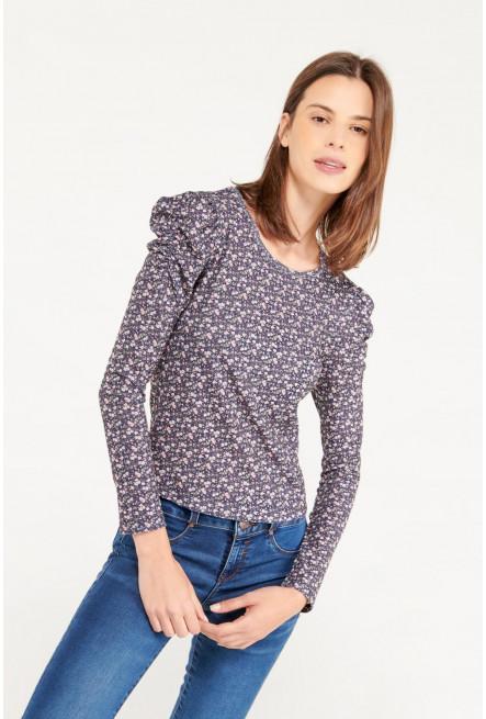 Camiseta manga larga con miniprint floral.