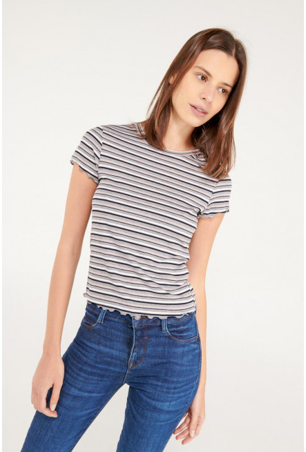 Camiseta cuello redondo para mujer, manga corta en rib.