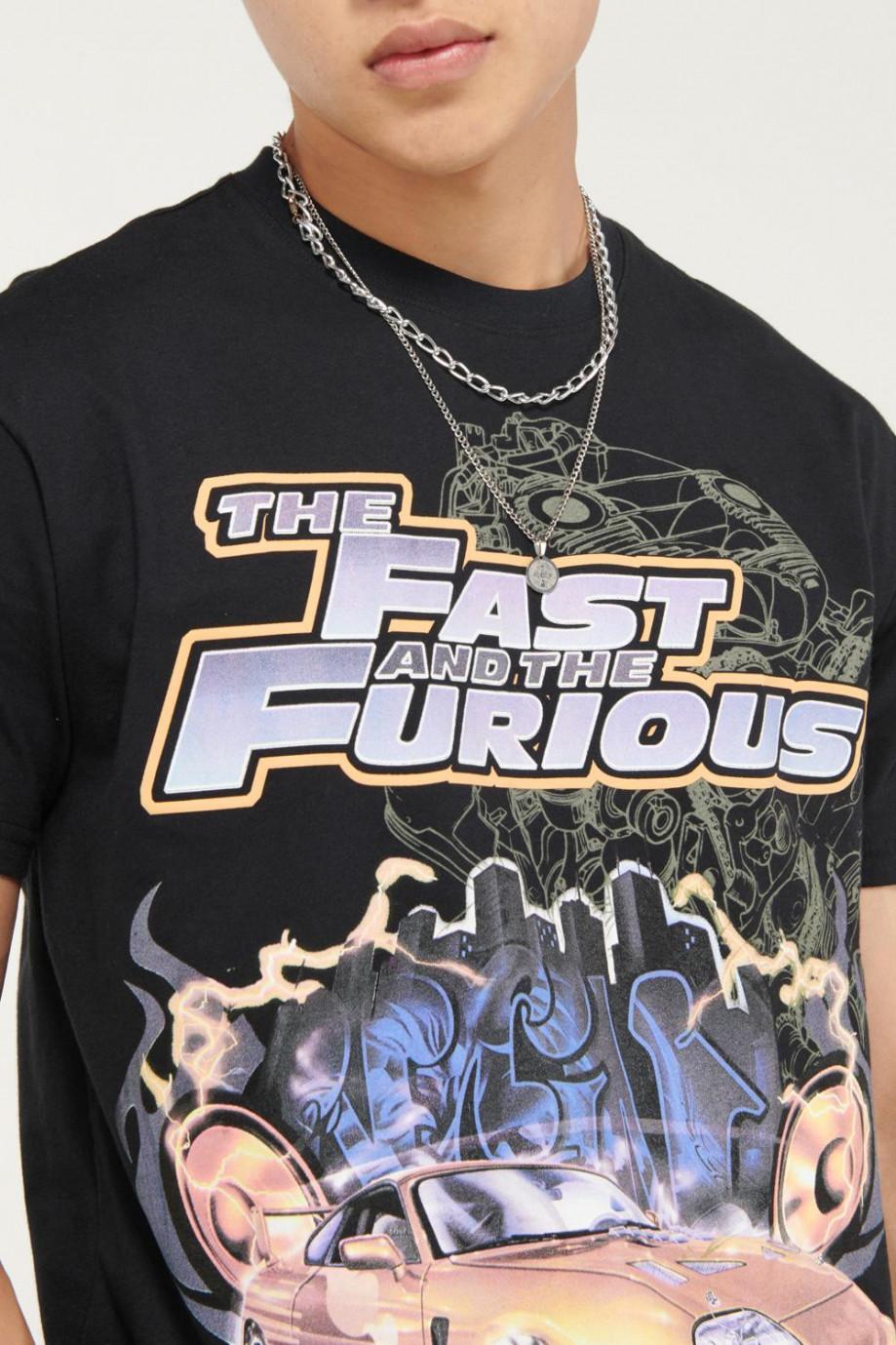 Camiseta cuello redondo con estampado frente y espalda de Rápidos y Furiosos.