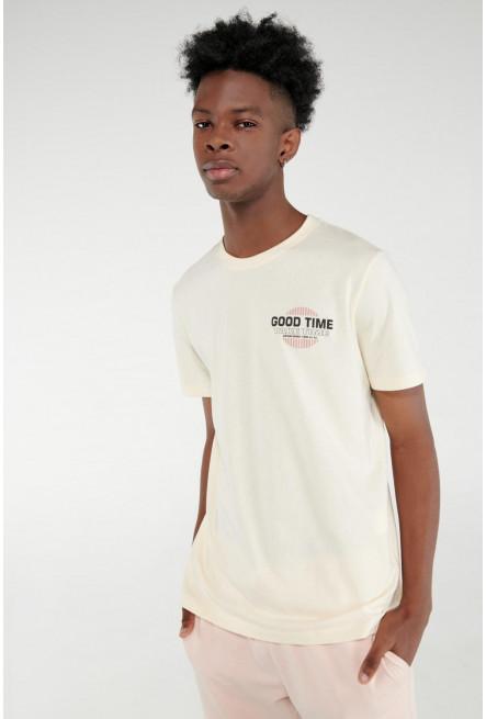 Camiseta manga corta cuello redondo con estampado localizado.
