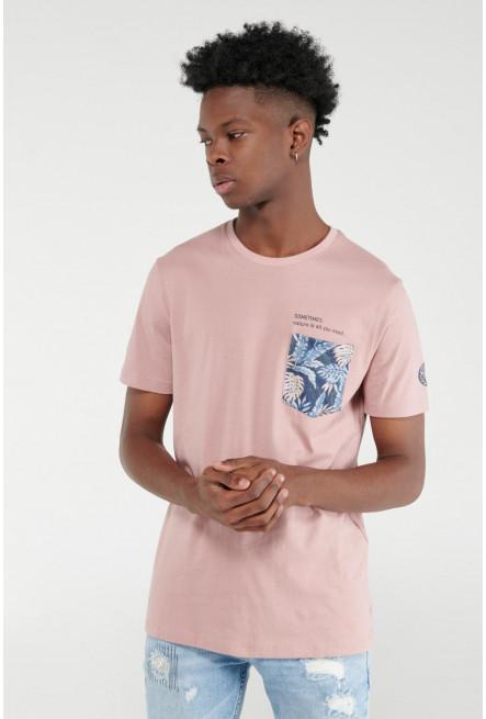 Camiseta cuello redondo, estampado frente y manga