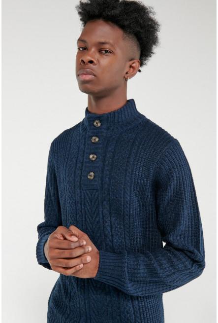 Suéter cuello alto con botones