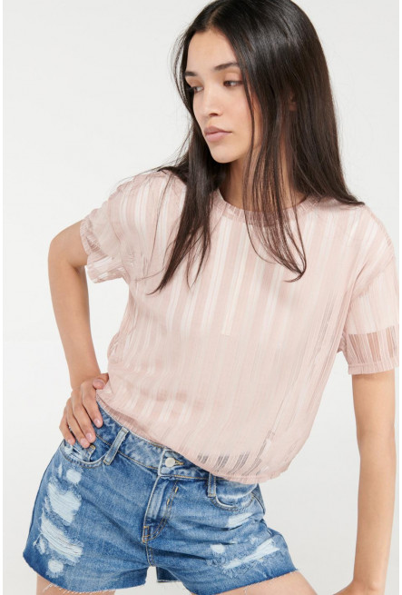 Camiseta chic manga corta con tela importada.