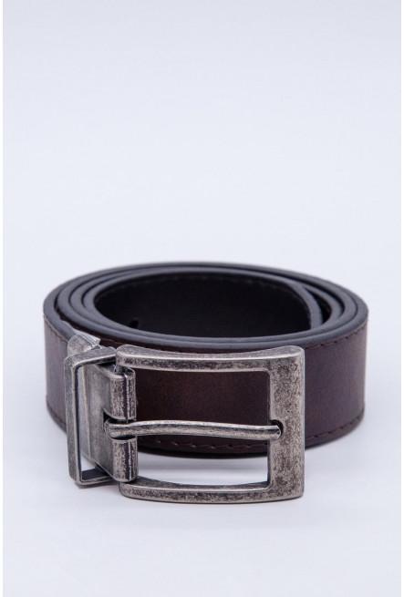 Cinturon unicolor cafe - reversible hebilla metalica