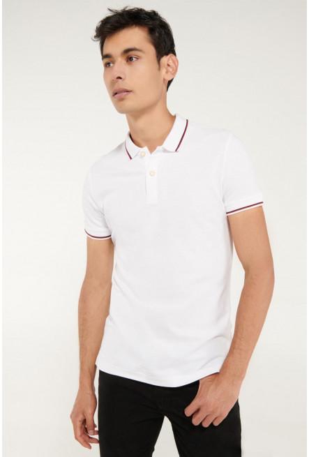 Camisa Polo unicolor con puños y cuello tejidos