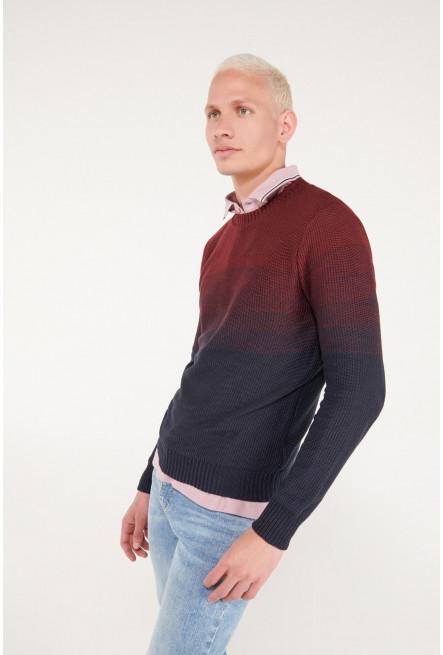 Suéter cuello redondo en tono degradado