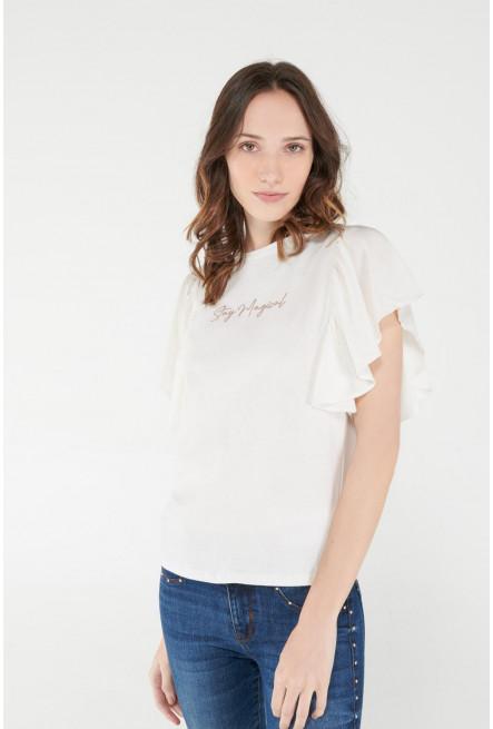 Camiseta manga corta con estampado y mangas acampanadas