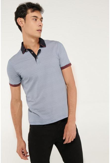Camiseta Polo unicolor con cuello tejido estampado continuo