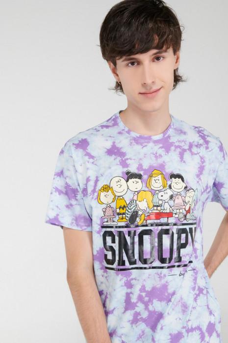 Camiseta Tie dye manga corta, estampado de Snoopy.