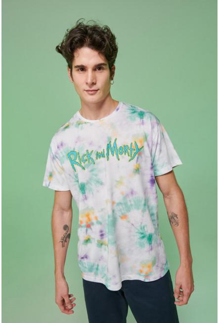 Camiseta Tie dye, estampada de Rick & Morty.