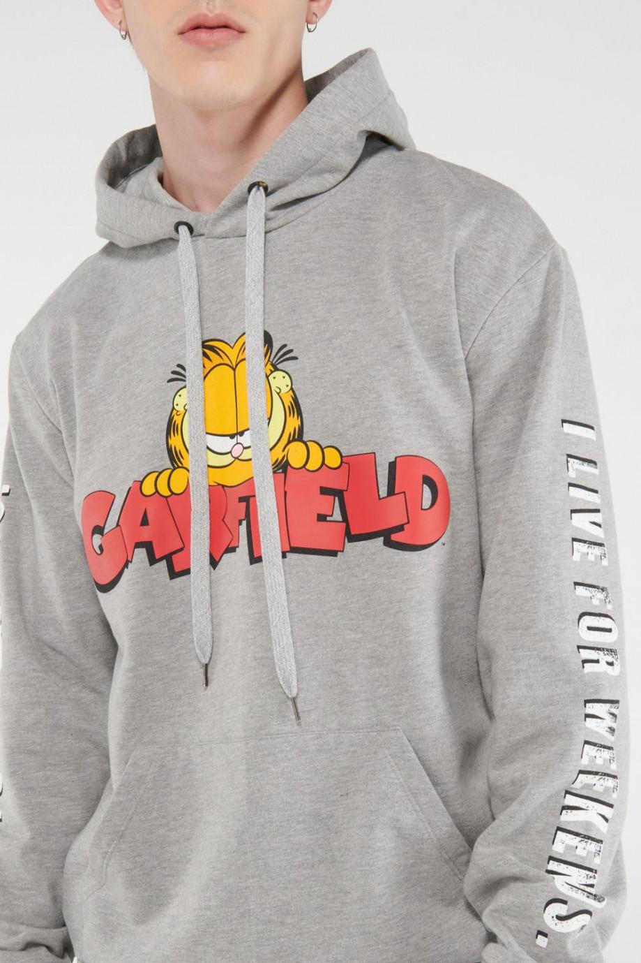 Buzo capota, estampado de Garfield.