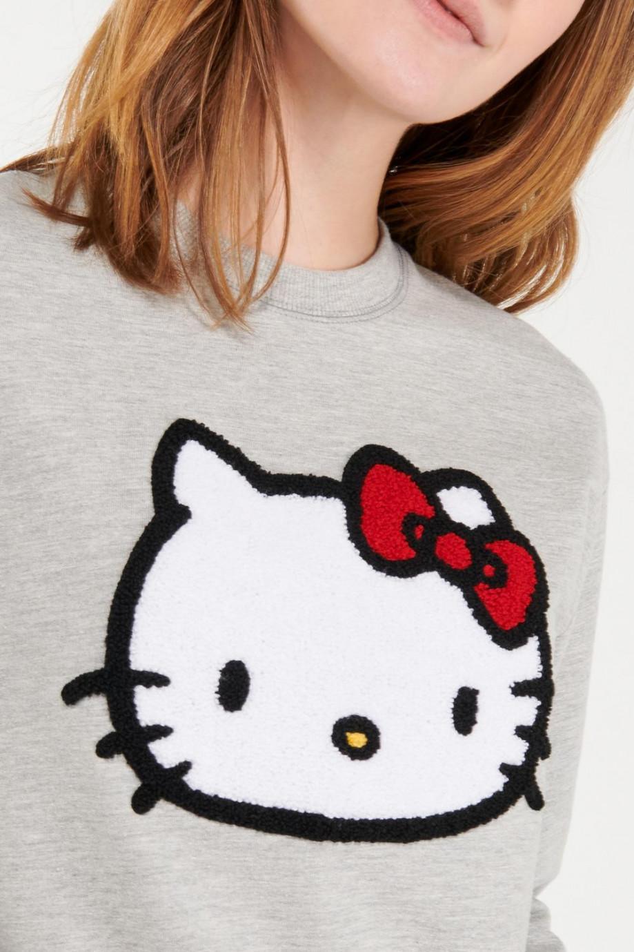 cuello redondo, estampado de Hello Kitty