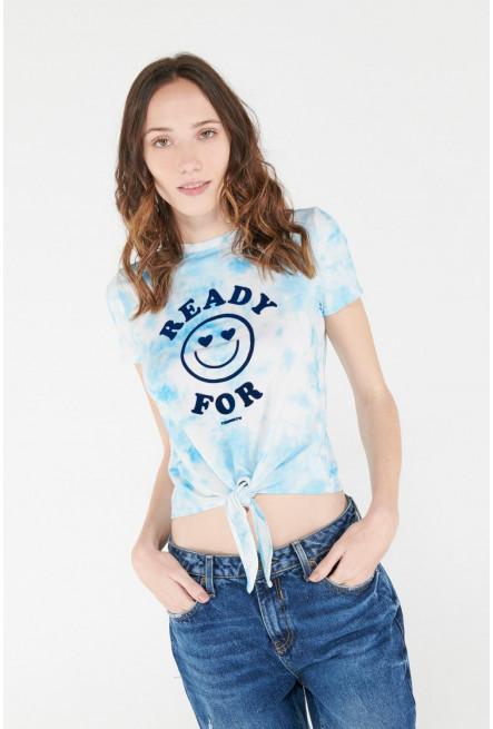 Camiseta Tie dye, manga corta con estampado.
