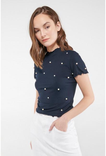 Camiseta manga corta con perlas
