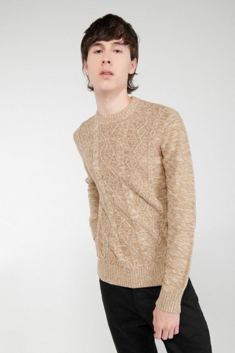 Suéter cuello redondo unicolor