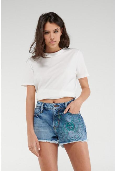 Short jean estampado