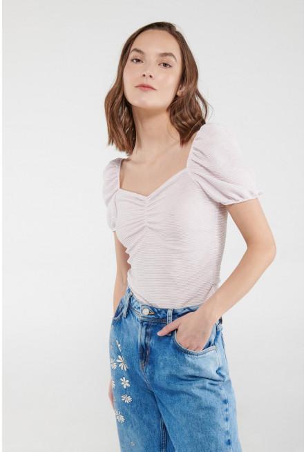 Camiseta manga corta abullonada, unicolor