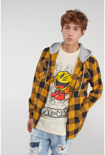 Camiseta manga corta, estampada en frente y espalda de Pacman.
